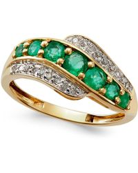 Macy's | Emerald (3/4 Ct. T.w.) And Diamond Accent Ring In 14k Gold | Lyst