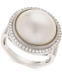 Macy's - Cultured Mabé Pearl (14mm) & White Topaz (1/8 Ct. T.w.) Ring In Sterling Silver - Lyst