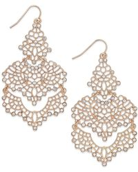 INC International Concepts | Gold-tone Crystal Lace Chandelier Earrings | Lyst