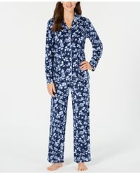 Charter Club - Printed Fleece Notched Collar Pyjama Set, Created For Macy's - Lyst