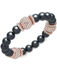 Joan Boyce - Rose Gold-tone Pavé Bead & Grey Imitation Pearl Stretch Bracelet - Lyst