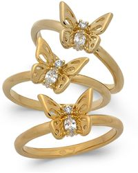 Kate Spade - Gold-tone 3-pc. Set Crystal Butterfly Stackable Rings - Lyst