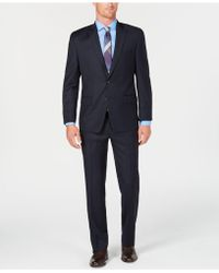 Michael Kors - Classic/regular Fit Natural Stretch Navy Windowpane Wool Suit - Lyst