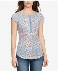 William Rast - Cotton Printed Hook-closure Top - Lyst