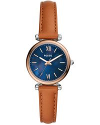 Fossil - Carlie Mini Brown Leather Strap Watch 28mm - Lyst