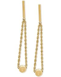 Macy's - Bead & Rope Drop Earrings In 14k Gold, 1 3/8 Inches - Lyst