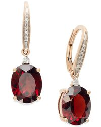 Macy's - Garnet (6 Ct. T.w.) And Diamond Accent Oval Earrings In 14k Rose Gold - Lyst
