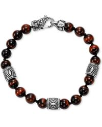 Scott Kay - Men's Red Tiger's Eye Bead Bracelet With Sterling Silver Accents - Lyst