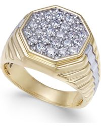 Macy's - Men's Diamond Two-tone Octagon Cluster Ring (1 Ct. T.w.) In 10k & Rhodium-plate - Lyst