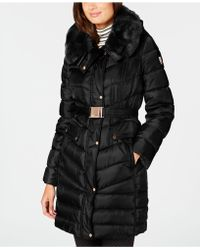 Vince Camuto - Faux-fur-trim Hooded Belted Puffer Coat - Lyst