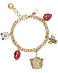 Kate Spade - Gold-tone Picnic Charm Bracelet - Lyst