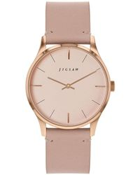 Jigsaw Ladies Watch, Round Rose Gold Stainless Steel Case, Rose Gold Dial, Genuine Leather Strap - Pink