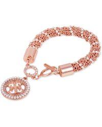 Guess - Pavé & Imitation Pearl Logo Charm Bracelet - Lyst