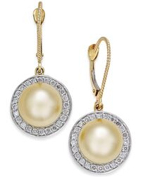 Macy's - Cultured Golden South Sea Pearl (9mm) And Diamond (1/2 Ct. T.w.) Drop Earrings In 14k Gold - Lyst