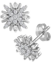 Macy's - Diamond Cluster Starburst Stud Earrings (1/5 Ct. T.w.) In 10k White Gold - Lyst