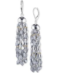 Nine West - Tri-tone Beaded Drop Earrings - Lyst