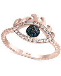 Effy Collection - Effy® Diamond Evil Eye Ring (1/5 Ct. T.w.) In 14k Rose Gold - Lyst