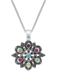 Macy's - Marcasite & Colored Crystal Openwork Pendant Necklace In Silver-plate - Lyst