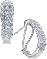 Macy's - Diamond Hoop Earrings (1 Ct. T.w.) In 10k White Gold & Yellow Gold - Lyst