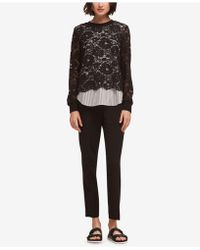 DKNY - Layered-look Lace Striped Top, Created For Macy's - Lyst