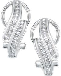 Macy's - Diamond Bypass Hoop Earrings (1/4 Ct. T.w.) In Sterling Silver - Lyst