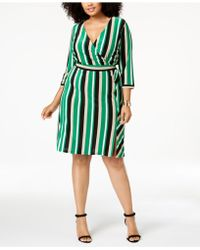 INC International Concepts - I.n.c. Plus Size Striped Faux-wrap Dress, Created For Macy's - Lyst