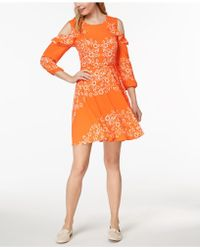 Maison Jules - Printed Cold-shoulder Dress, Created For Macy's - Lyst