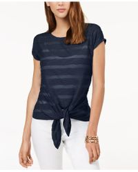 INC International Concepts - I.n.c. Illusion Tie-front T-shirt, Created For Macy's - Lyst