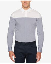 Perry Ellis - Men's Colorblocked Chambray Shirt - Lyst