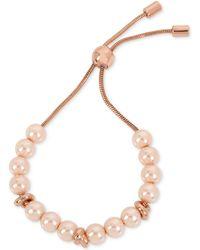 Kenneth Cole - New York Rose Gold-tone Imitation Pearl Slider Bracelet - Lyst