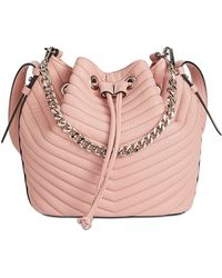 Steve Madden | Marge Chevron Quilted Drawstring Small Bucket Bag | Lyst