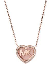 Michael Kors - Rose Gold-tone Pavé Logo Heart Pendant Necklace - Lyst