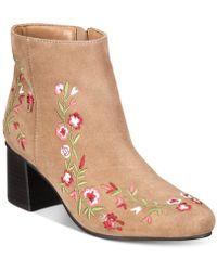Callisto - Veronaa Embroidered Block-heel Booties - Lyst