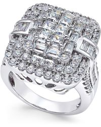 Macy's - Diamond Square Cluster Ring (3 Ct. T.w.) In 14k White Gold - Lyst