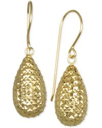 Macy's - Textured Teardrop Puff Drop Earrings In 10k Gold. - Lyst