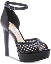 045048d0118 Lyst - Jessica Simpson Baani Embellished Platform Sandals in Black