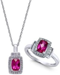 Macy's - Lab-created Ruby (2 Ct. T.w.) And White Sapphire (5/8 Ct. T.w.) Pendant Necklace And Matching Ring Set In Sterling Silver - Lyst