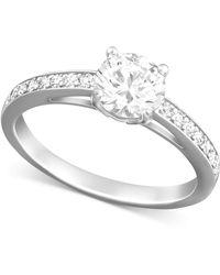 Swarovski | Rhodium-plated Round-cut Clear Crystal Ring | Lyst