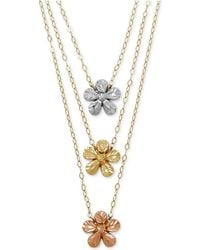 Macy's - Tri-color Flower Necklace In 14k Gold - Lyst