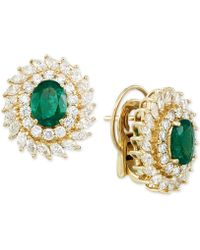Rare Featuring Gemfields - Certified Emerald (1-9/10 Ct. T.w.) And Diamond (2-1/3 Ct. T.w.) Stud Earrings In 14k Gold - Lyst