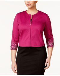 Anne Klein - Plus Size Embellished Jacket - Lyst