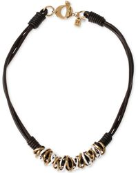Robert Lee Morris - Two-tone Mixed Metal Ring Leather Frontal Necklace - Lyst
