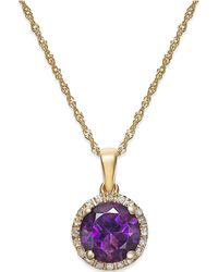 Macy's - Amethyst (1-1/10 Ct. T.w.) And Diamond Accent Pendant Necklace In 14k Gold - Lyst