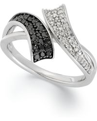 Macy's - Sterling Silver Ring, Black (1/6 Ct. T.w.) And White Diamond (1/10 Ct. T.w.) Bypass Ring - Lyst