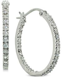 "Giani Bernini - Small Cubic Zirconia In & Out Oval Hoop Earrings In 18k Gold-plated Sterling Silver, 0.6"", Created For Macy's - Lyst"