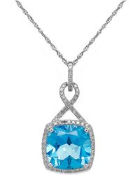 Macy's - Blue Topaz (6 Ct. T.w.) And Diamond (1/5 Ct. T.w.) Pendant Necklace In 14k White Gold - Lyst
