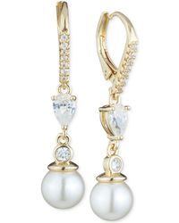 Anne Klein - Imitation Pearl And Crystal Drop Earrings - Lyst