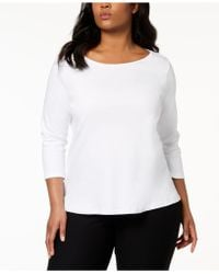 Eileen Fisher - Plus Size System Three-quarter-sleeve Ballet-neck Top - Lyst