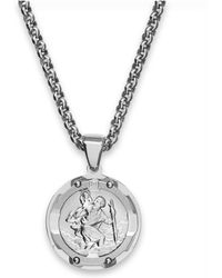 Macy's - Men's St. Christopher Diamond Pendant Necklace In Stainless Steel - Lyst