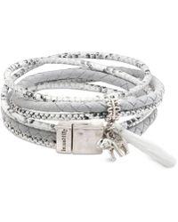 Lonna & Lilly - Silver-tone Pavé Elephant & Tassel Fabric Wrap Bracelet - Lyst